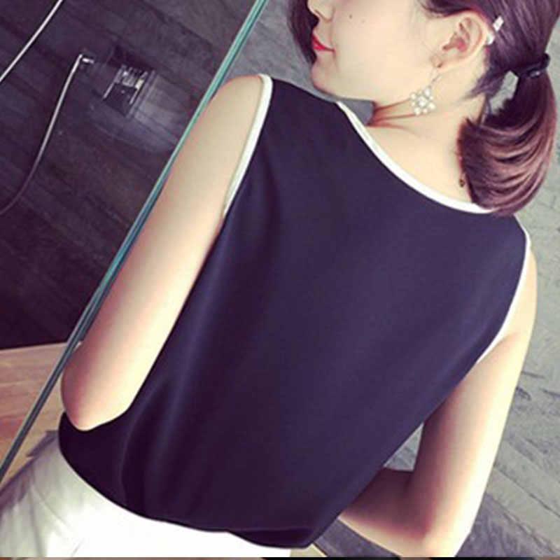 بلوزات مكتب الموضة الخامس الرقبة ارتداء ضئيلة تانك القمم السيدات OL أسود أبيض قميص 2019 المرأة الجديدة بلا أكمام بلوزة شيفون الصيف