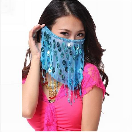 Women Sexy Belly Dance Face Veils With Peacock Sequin ...