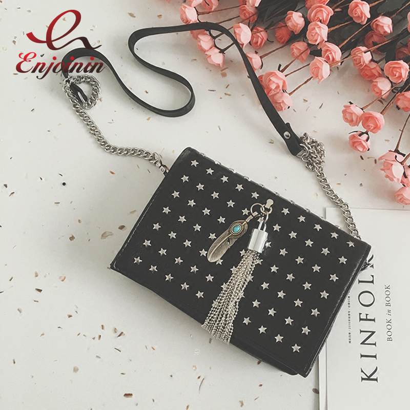 Punk fashion metal star rivet tassel chain purse women's crossbody mini messenger bag female handbag shoulder bag flap 2 colors  fashion design bee metal pearl pu leather chain ladies shoulder bag handbag flap purse female crossbody messenger bag 5 colors