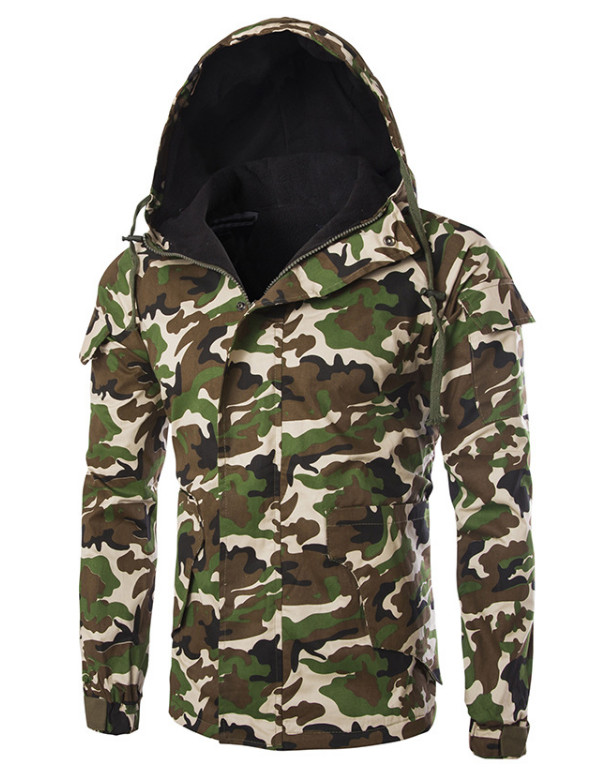 2018 Autumn Winter Camouflage Cotton Jacket Men New Hooded Windproof Jacket Casual Army Green Jacket Male Windbreaker