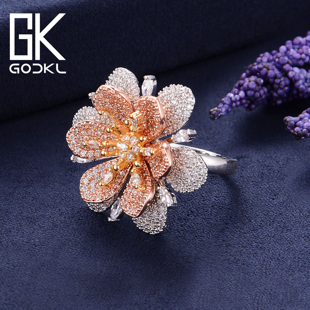 GODKI יוקרה פרחים מעוקב Zironia אירוסין דובאי ניגרי כלה הצהרת אצבע טבעות נשים חתונת תכשיטים אופנתיים 2018