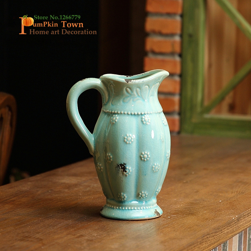 NEW French retro style single handle high temperature ceramic vase,Mediterranean style High quality home decoration crafts vase