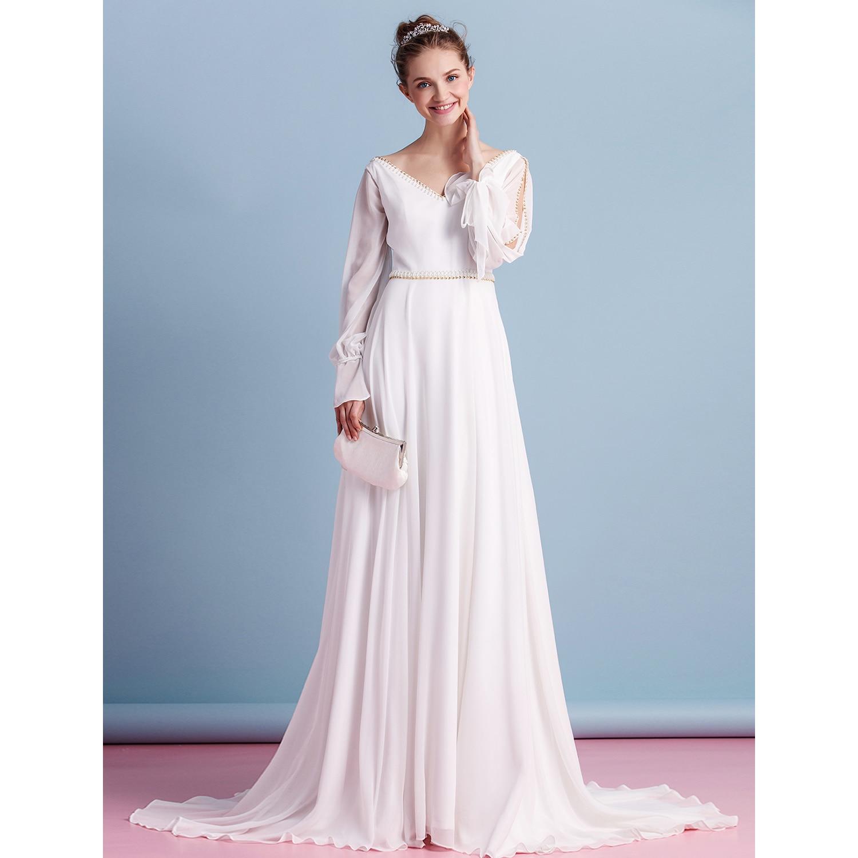 Mryarce Full Lace Long Sleeve Wedding Dress Floor Length Modest ...