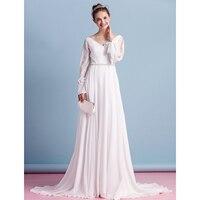 LAN TING BRIDE Beach Wedding Dress Backless V neck Long Sleeves Court Train Chiffon Bridal Gown with Beading Vestido de Noiva