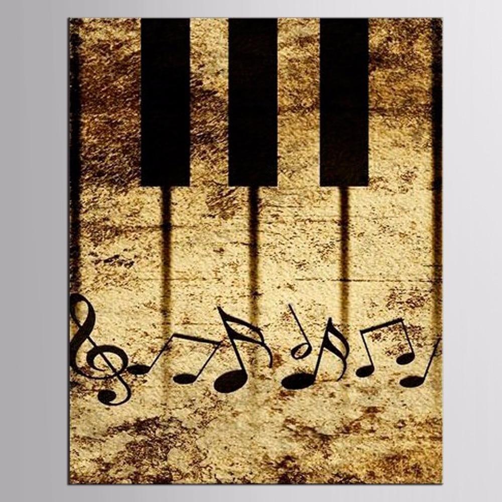 Framed 1 Piece Gambar Abstrak Piano Kanvas Seni Cetak Lukisan