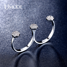 UMODE Brand New Fashion Jewelry Rhodium plated Micro Simulated  Double Finger Rings For Women Wedding Bands AUR0311