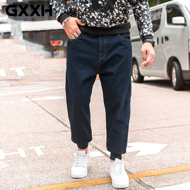 GxxH New Large size Jeans Men Loose casual Simple Stretch Feet pants Spring and Autumn Waist Casual trousers Size XXL-5XL 6XL