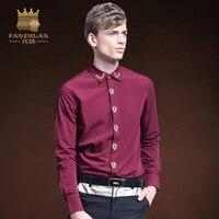 Ciekawa FANZHUAN Odzież Marki Formalne Koszula Mężczyzn Klasyczny Biznes Hafty Kołnierz Slim Fit Koszula Z Długim Rękawem Koloru Czerwonego Wina