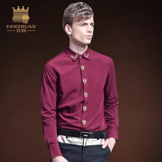 FANZHUAN Caratterizzato Marche di Abbigliamento Formale Camicia Uomo  Classic Affari Manica Lunga Vino Rosso di Colore 4e907f5d4dcc