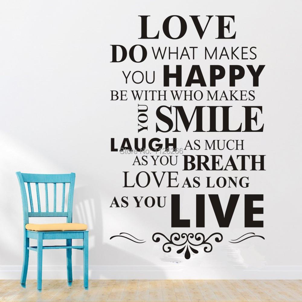 What Makes You Happy Quotes Love Do What Makes You Happy Wall Lettering Stickers Inspirational