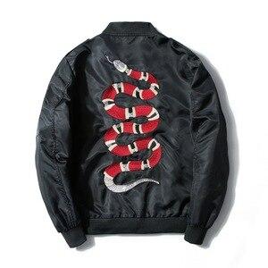 Image 2 - Mannan Herfst 2018 Jas Snake Borduren Jas Dunne Mannen Hip Hop High Street Streetwear Geborduurde Koppels Baseball Jas