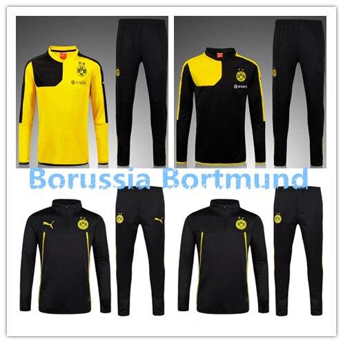 15 16 Borussia Dortmund kits soccer football jersey kits. best quality BVB  soccer uniforms Jerseys embroidery logo bf5924c30