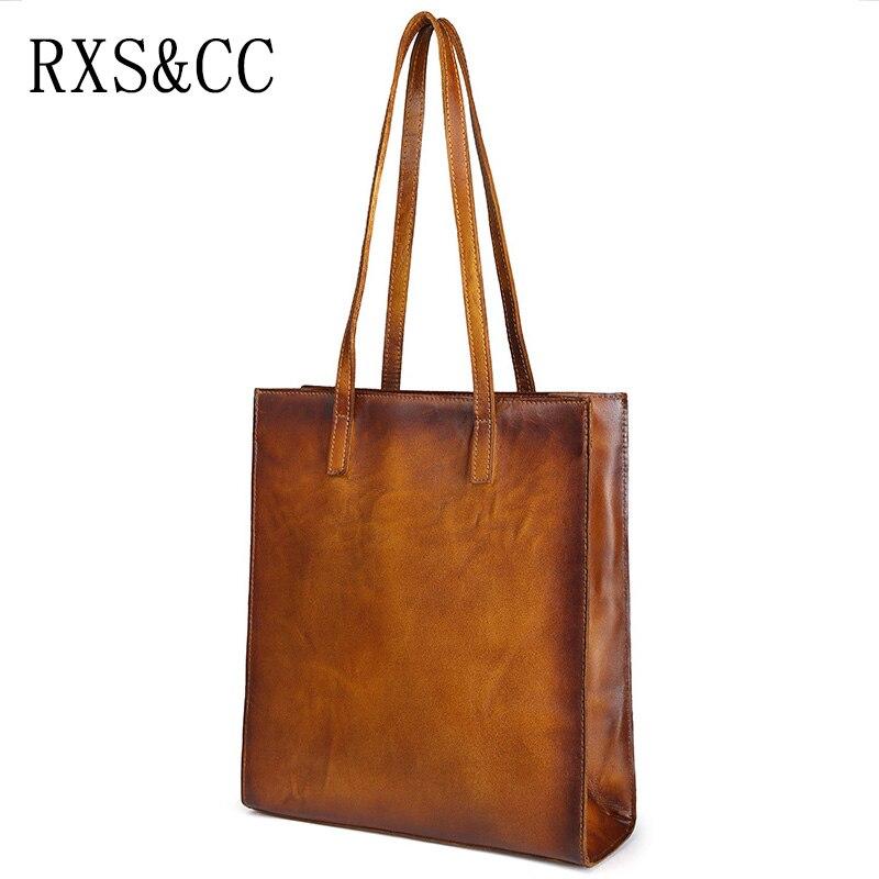 RXS&CC 2018 new ladies handbag original art design leather shoulder bag retro solid color shopping bag