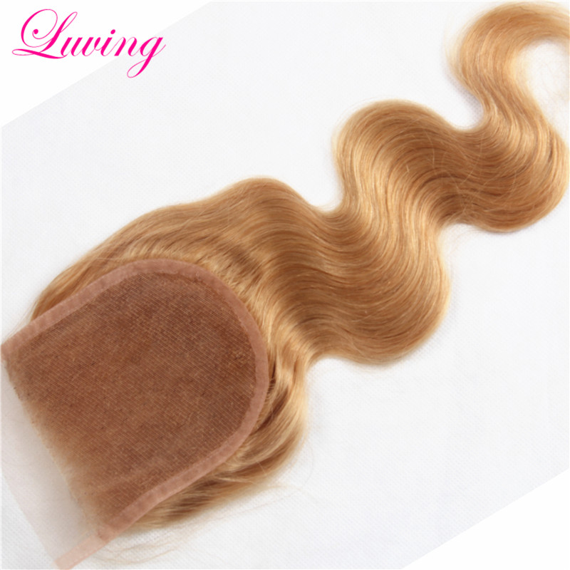 #27 Honey Blonde Lace Top Closure Free Middle Part Body Wave 4x4 Brazilian Human Virgin 7A Remy Honey Blond Color Hair Closure