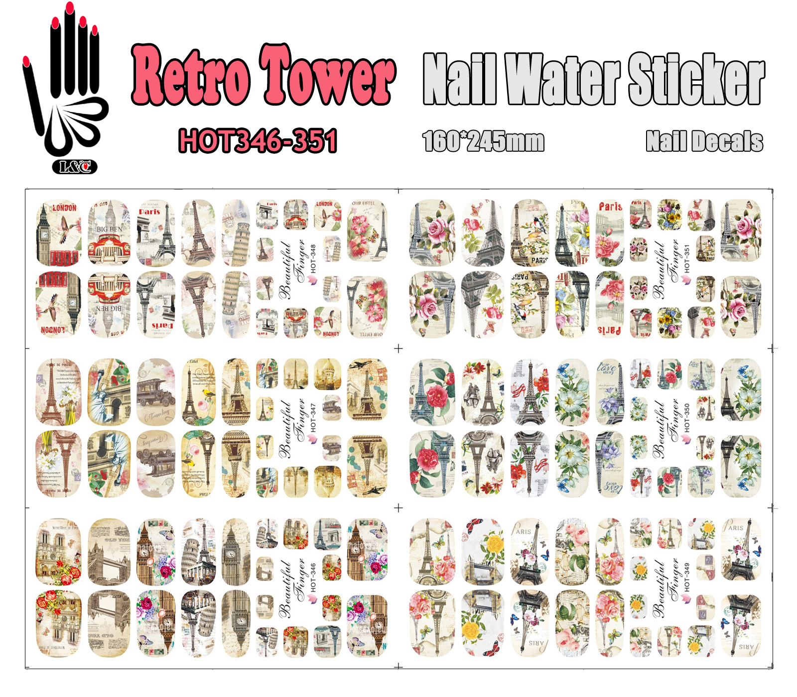 6 Sheets/Lot Art Nail HOT346-351 Retro Tower Full Cover Nail Film Nail Art Water Sticker Decal For Nail Art (6 DESIGNS IN 1) 4 packs lot full cover white french smile lace tattoos sticker water decal nail art d363 366w