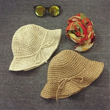Korean Hand Knitted Child Hat Children's Straw Girl Beach Sunscreen Baby Sunshade Cap Spring And Summer Seaside Photography(China)