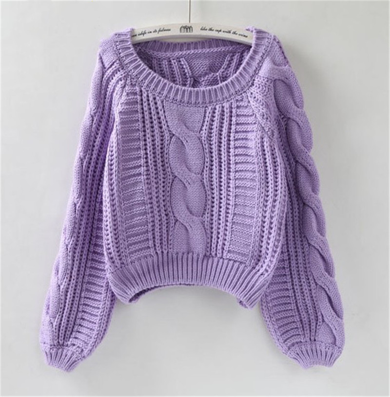 Harajuku Women's Pull Sweaters 2019 New Purple Jumpers Candy Color Knotting Roupas Femininas Chic Short Sweater Twisted Pull