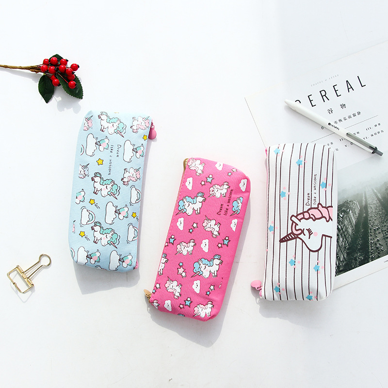 все цены на 1Pcs Kawaii Pencil Case Unicorn Flamingo Canvas Gift Estuches School Pencil Box Pencilcase Pencil Bag School Supplies Stationery
