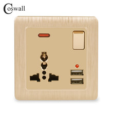 Coswall Wall Power Socket 13A Universal 3 Hole Switched Outlet 2.1A Dual USB Charger Port LED indicator Gold()