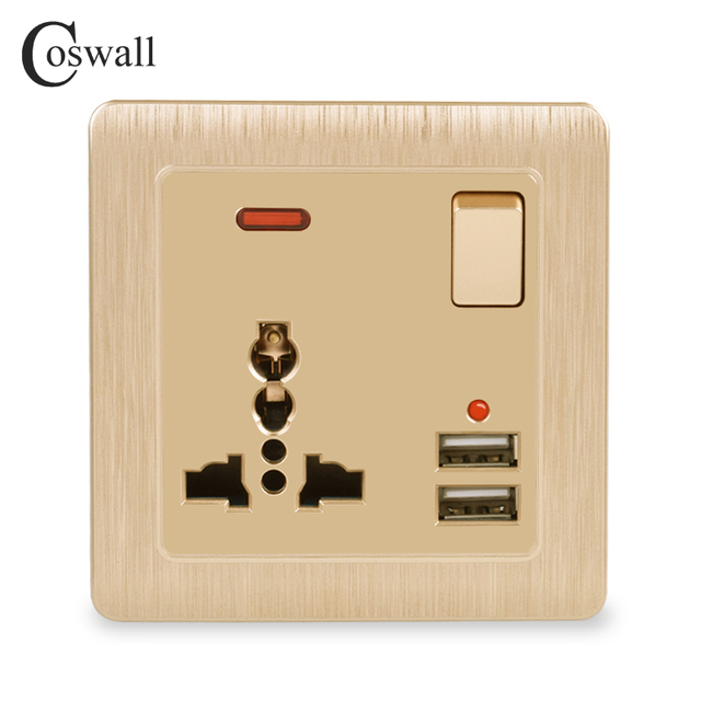 Coswall Wall Power Socket 13A Universal 3 Hole Switched Outlet 2.1A Dual USB Charger Port LED indicator Gold