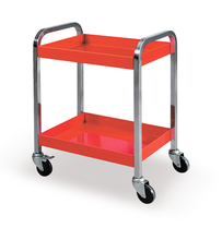 26'' Red 2-Tier Storage Shelves Tools Cart  with 360 Degree Free Rotation Wheels for Workshop Garage Use