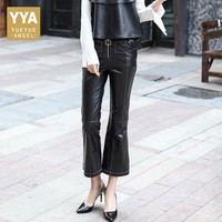 2019 New Winter Womens Trousers Slim Fit Genuine Leather Ankle Length Pants Female Black High Waist Flare Pants Plus Size S 3XL