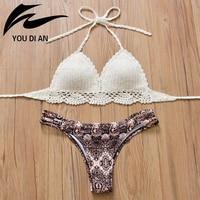2018 Branco de Crochê Biquíni Swimwear Mulheres Sexy Maiô Bandage Biquíni Tanga Tanga Trajes de banho das Mulheres Maiôs Moda Praia