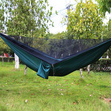 For 1~3 Persons Lightweight Portable Outdoor Automatic a Hammock with Mosquito net firm Army Green Blue 210T 290*140cm for 300KG(China)