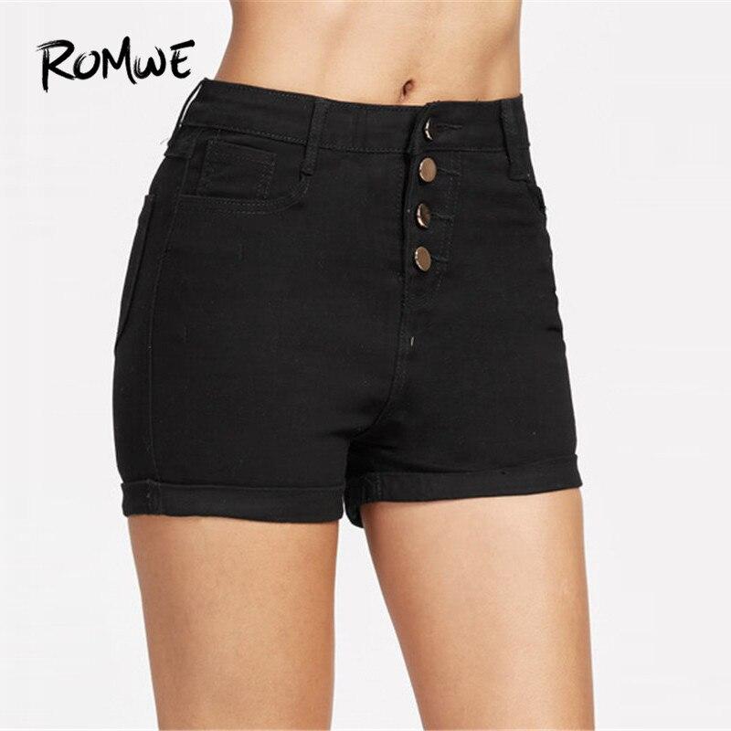 ROMWE Single Breasted Cuffed Chambray   Shorts   Women Casual Black Summer   Shorts   Fashion Rock Straight   Shorts