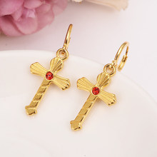 red crystal cz cross drop earring Ethiopian/Nigeria/Kenya /Ghana Gold color Dubai african Arab Middle Eastern Jewelry Mom Gifts(China)