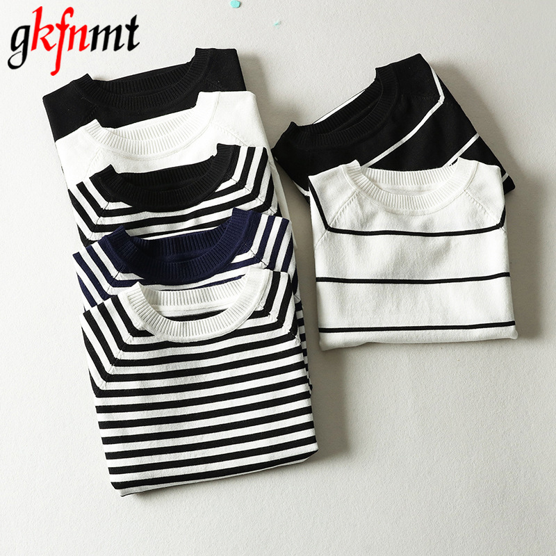 Sweaters Tops Jumper Short-Sleeve Striped Pullover O-Neck Knitted Female Black White