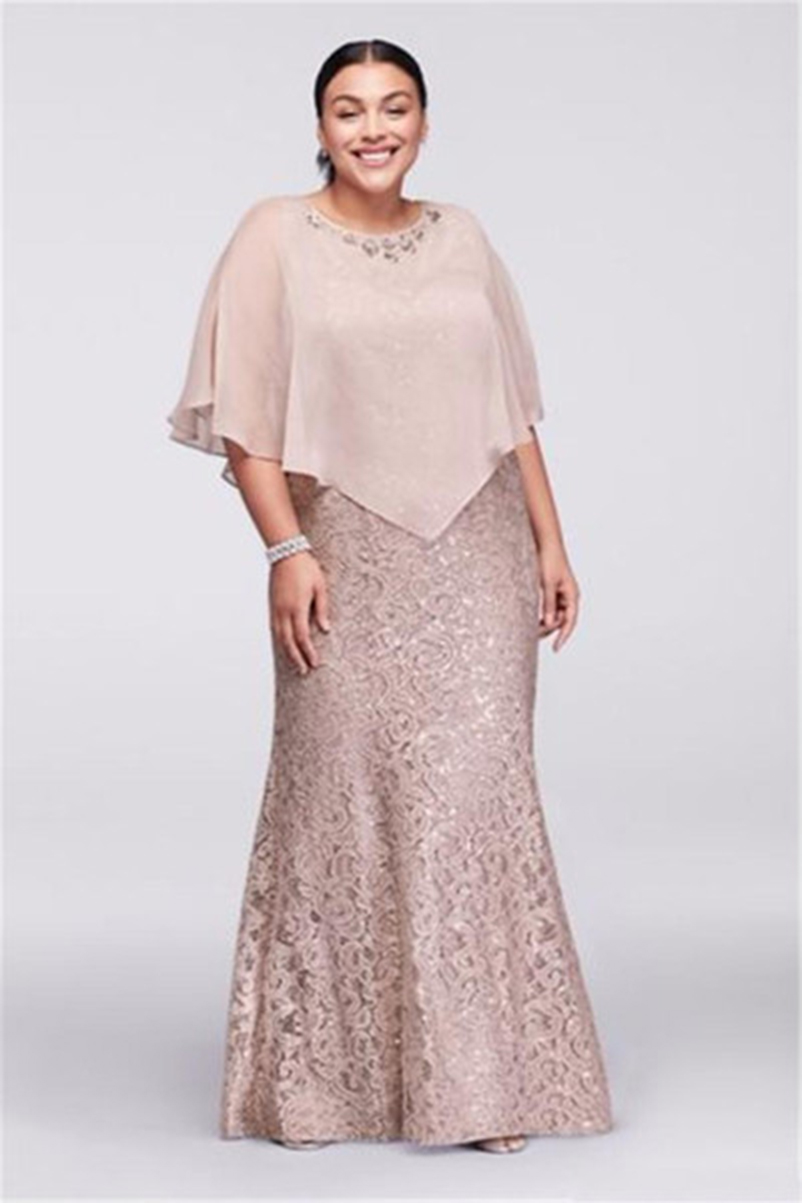 2019 Mother Of the Bride Dresses Jewel Neck Champagne Full Lace With Cape Wrap Beaded Floor Length Mermaid Wedding Guest in Mother of the Bride Dresses from Weddings Events