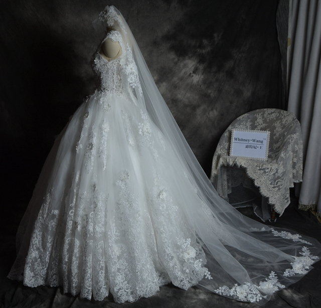 Hand made Wedding veil 3 Meters 2 meter White&Ivory Lace beaded ...
