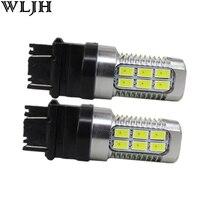 WLJH 2 pcs Switchback Double Ambre/Blanc 3157 3057 3757 LED 5630 Epistar Puces Led 12 v-24 v Avant Tournez L'ampoule Du Signal pour Ford