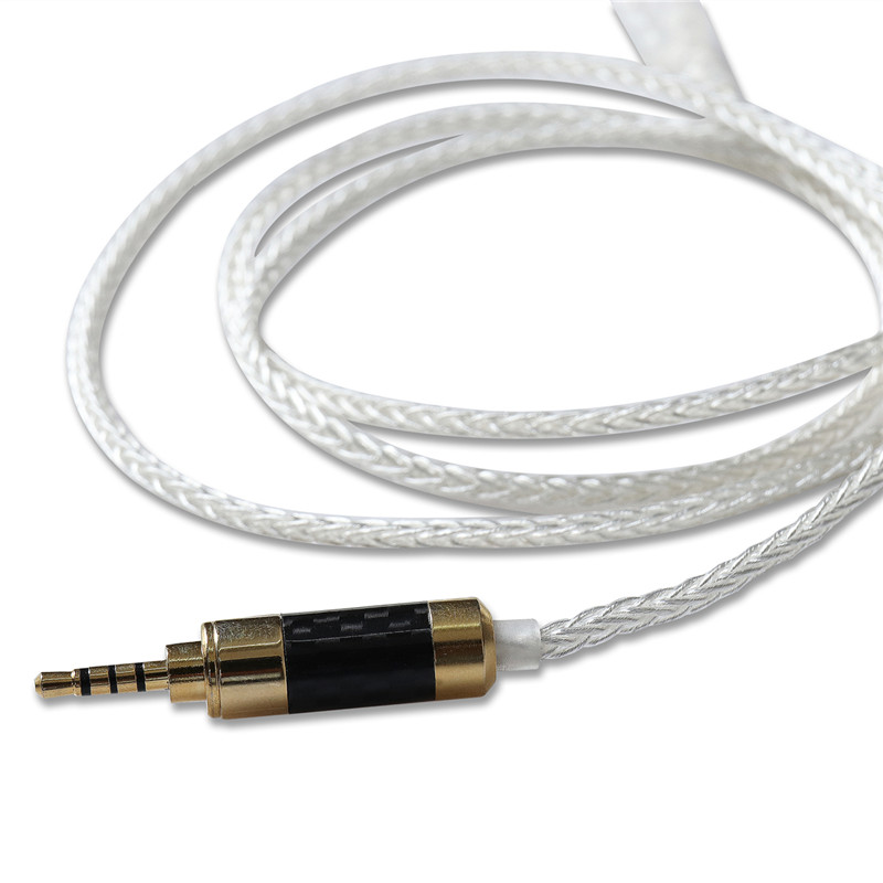1.28m 5N SE535 846 Crystal Silver Plated Audio Player Cable 2.5mm Metal MMCX Upgrade 8 Strand Balanced Speaker Cable
