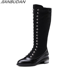 JIANBUDAN/ rivet fashion knight boots womens High quality material long tube Black casual autumn large size 34-46