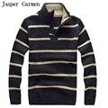 Бесплатная доставка 2017 новых людей хлопка водолазки половина молния полоса утолщение пуловеры свитер высокое качество Размер S-XXL 90