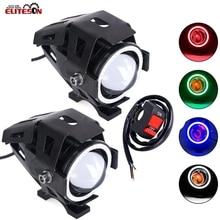 цена на 2PCS Waterproof 125W U7 LED Car Motorcycle Headlight Led DRL Fog Light Spot Light Lamp 4 Colors Angle Eye Light with Gift Switch