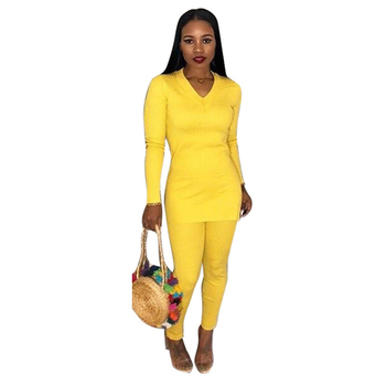 Women's high fork round neck jumpsuit jumpsuit two-piece casual long-sleeved overalls women's jumpsuit women's jumpsuit фото