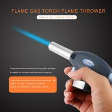 Hiking Camping BBQ Flame Gas Torch Gas Burner Gun Flame Thrower Torch Lighter Automatic Piezoelectricity Ignite Soldering Tool(China)