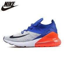 93341f8e Nike Air Max 270 подушки спортивная обувь Flyknit кроссовки Классический  Синий Оранжевый Черный AO1023-101 для мужчин 40-45