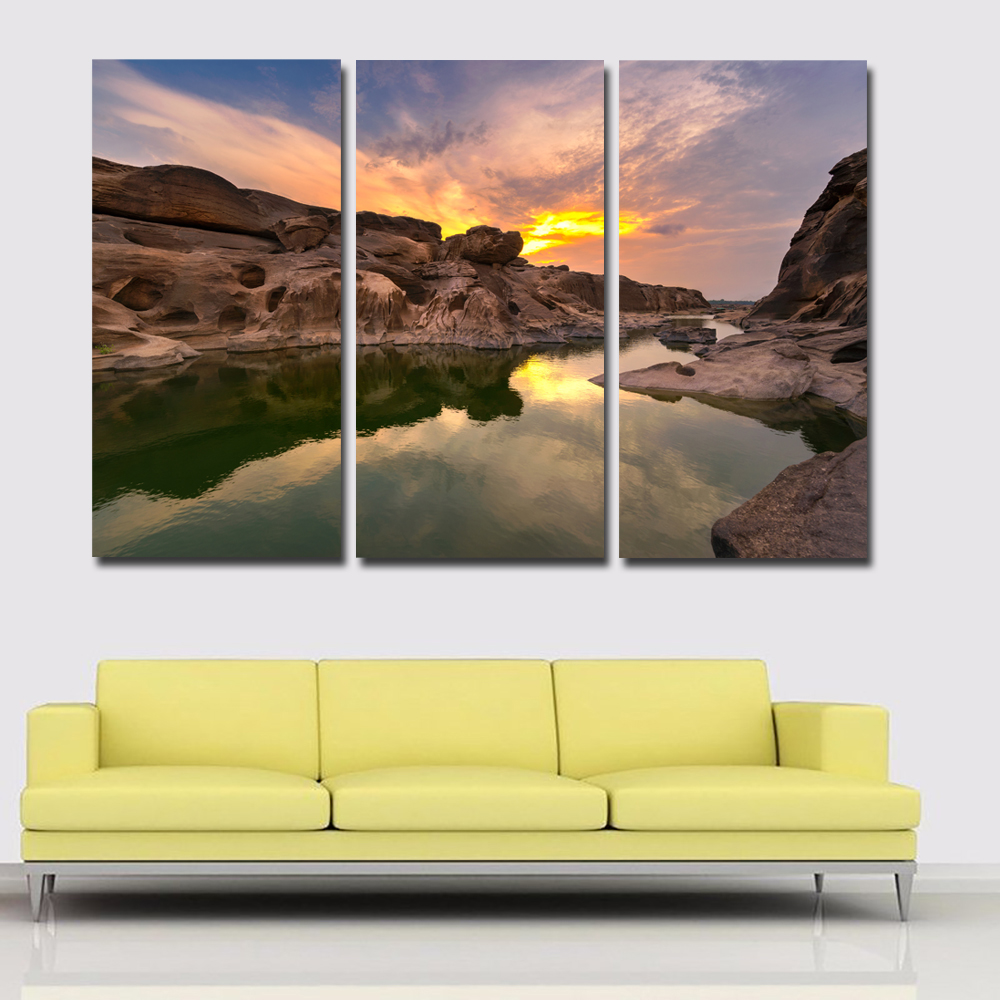 3 Pieces Thailand Parks Sunsets Rivers And Stone Canvas Art Painting Print Poster Cuadro ...