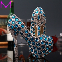 Fashion New Wedding Bridal Shoes Woman High Heeled 2015 Blue Crystal Women Shoes Party the New Princess Rhinestone Female Shoes