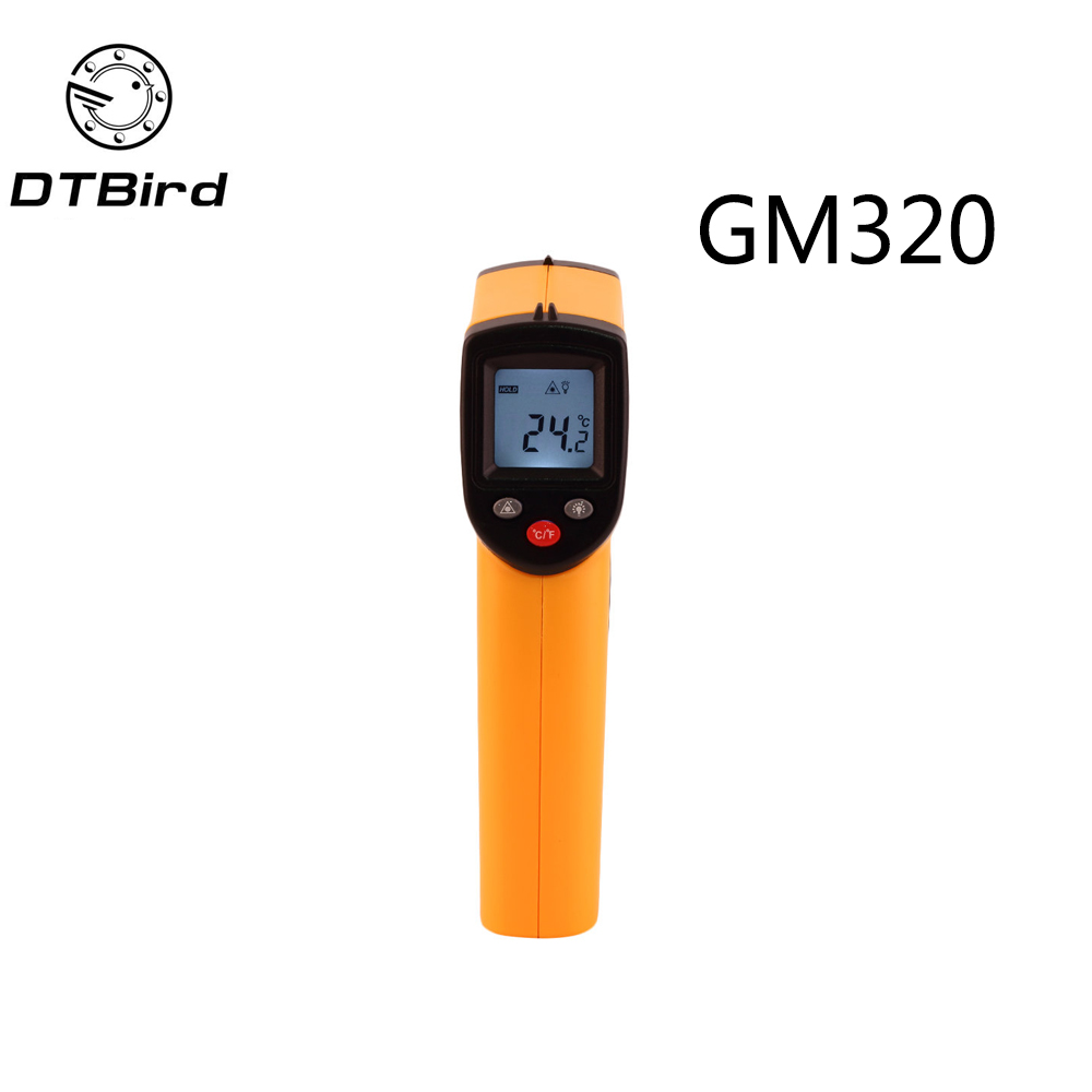 GM320 Digitale Termometro a infrarossi Emissività Regolabile Pirometro Acquario Termometro laser Outdoor termometro-50 ~ 380 gradi