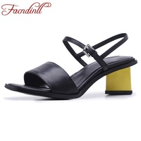 FACNDINLL Women Sandals 2018 Summer High Heels Sandals Concise Party Pump Shoes Woman Square Heel Sandals