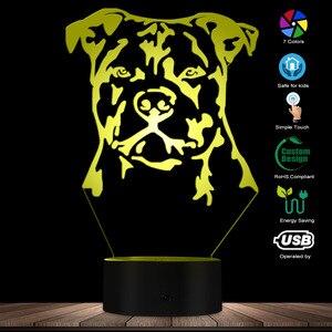 Image 3 - Moderne Staffordshire Bull Terrier LED Nachtlicht Tier Haustier Hund Welpen 3D Optische illusion Lampe Wohnkultur Tisch Lampe Schreibtisch licht