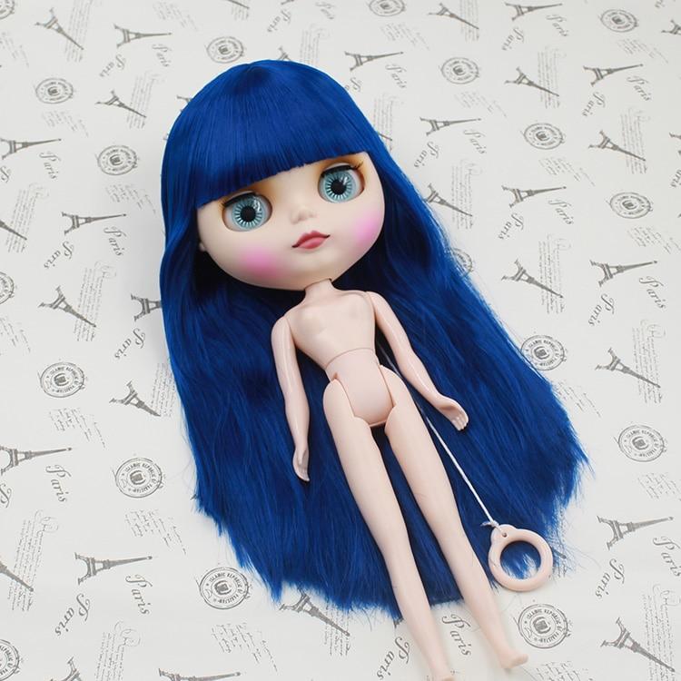 Blyth doll diy makeup dark blue long hair with bangs fashion nude blyth doll toys dark blue doll collar pleated dress