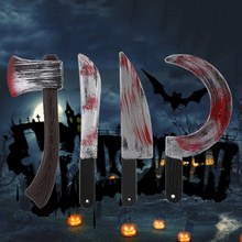 Plastic Bloody Halloween Prop Weapons Fancy Knife Cleaver Sickle Dress Costume
