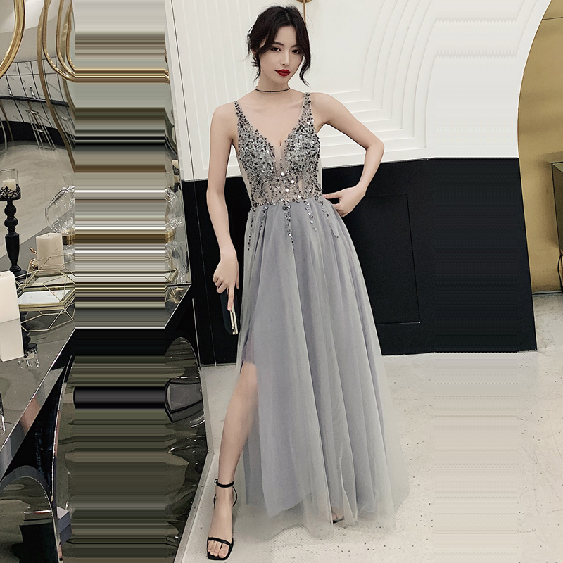 Evening     Dress   Sleeveless Zipper Women Party   Dresses   Backless Sequin Robe De Soiree 2019 Plus Size Lace V-neck Formal Gowns E697