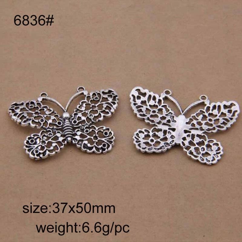 20pcs 37x50mm Vintage Tibetan Silver Alloy Hollow Butterfly Charms Pendant Fit For DIY Bracelet Necklace
